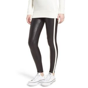 New Size S Spanx Side Stripe Faux Leather Leggings